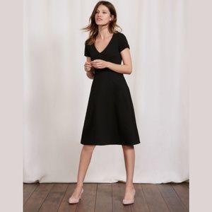 Boden Melanie Waffle Knit Black Midi Jersey Dress